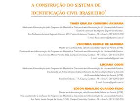 Organizações e ambiente legal: a construção do sistema de identificação civil brasileiro
