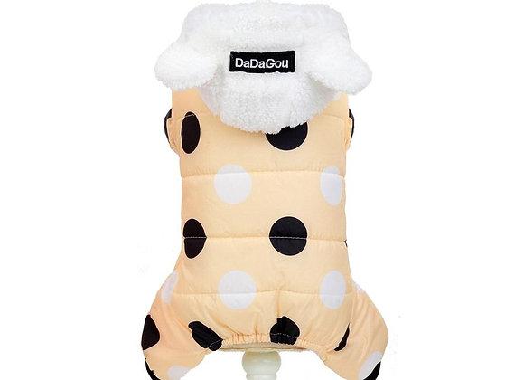 Winter Dog Clothes Big Polka Dot Cotton Coat