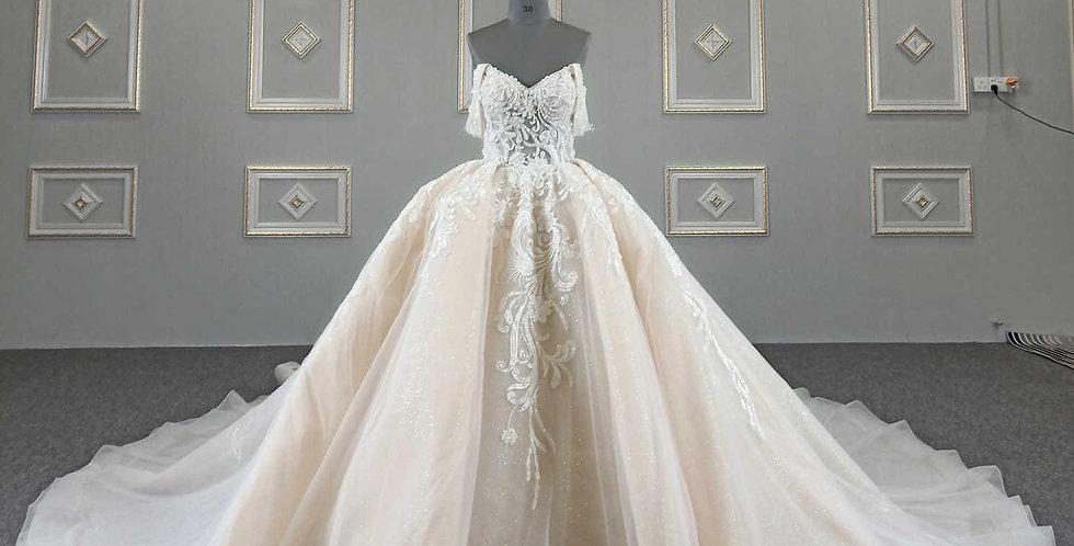 Lace Off the Shoulder Ballgown LB601879