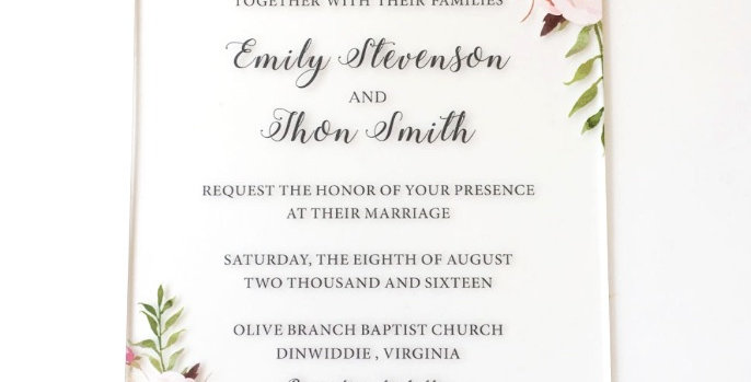 Floral Watercolor Frosted Acrylic Invitation