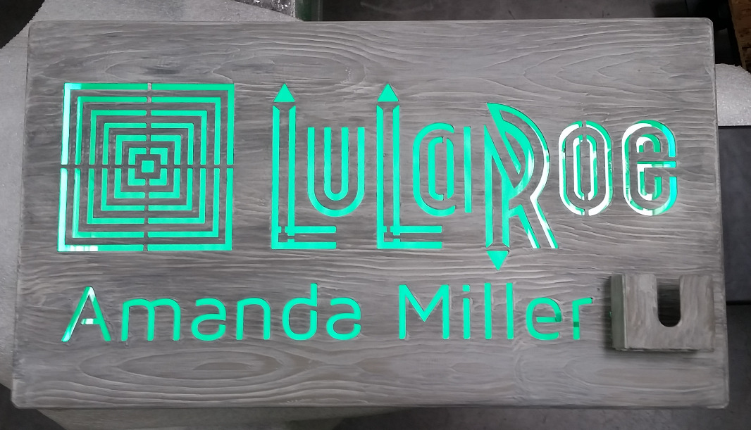 LED Sign with Business Card Holder