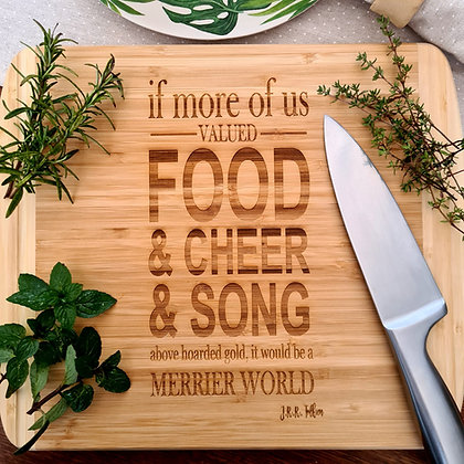 Food, Cheer & Song Bamboo Chopping Board