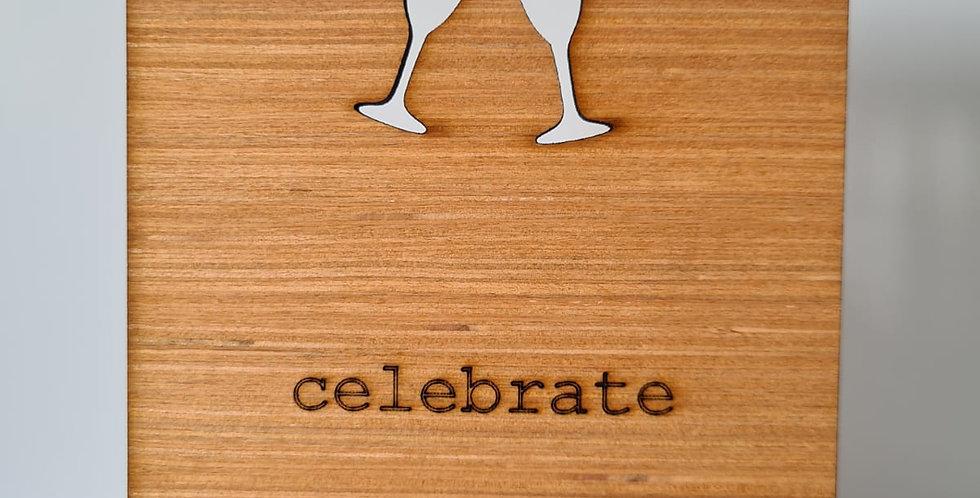 Champagne Toast Woodcut Greetings Card