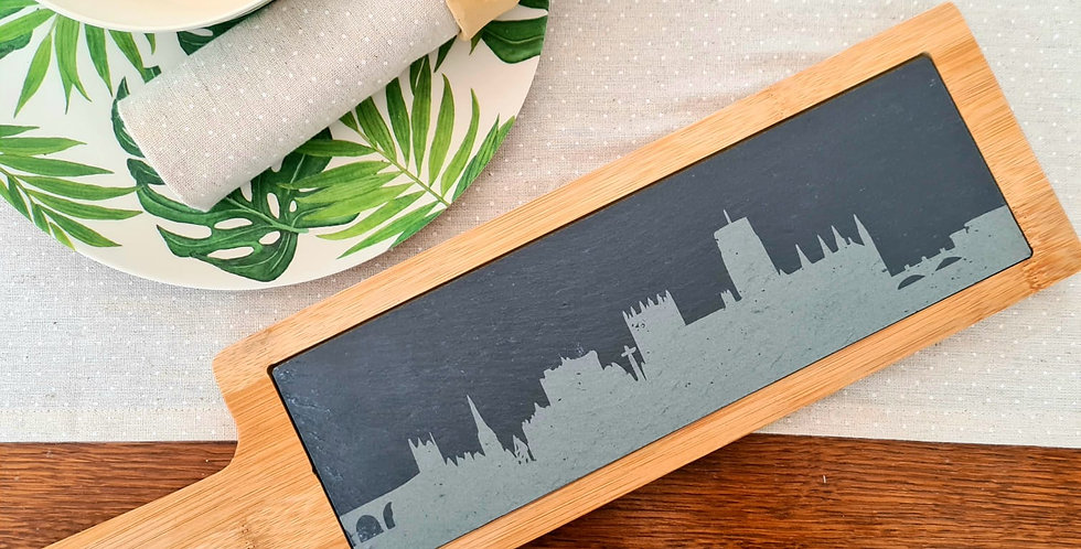 Durham Skyline Slate and Bamboo Serving Platter