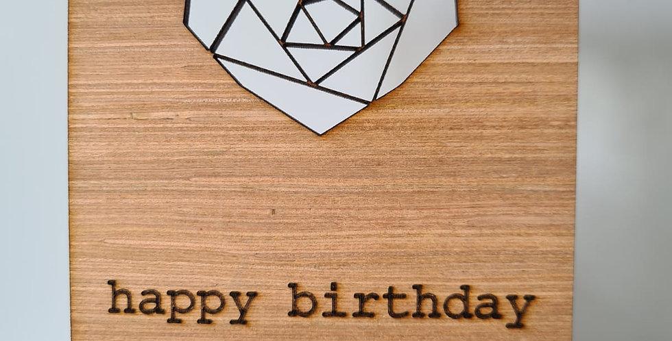Geometric Heart Woodcut Greetings Card