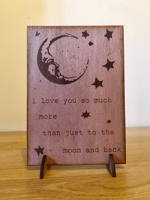 Moon and back pop up Valentine's Day Card