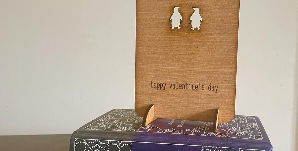 Penguin Couple Wood cut Greetings Card
