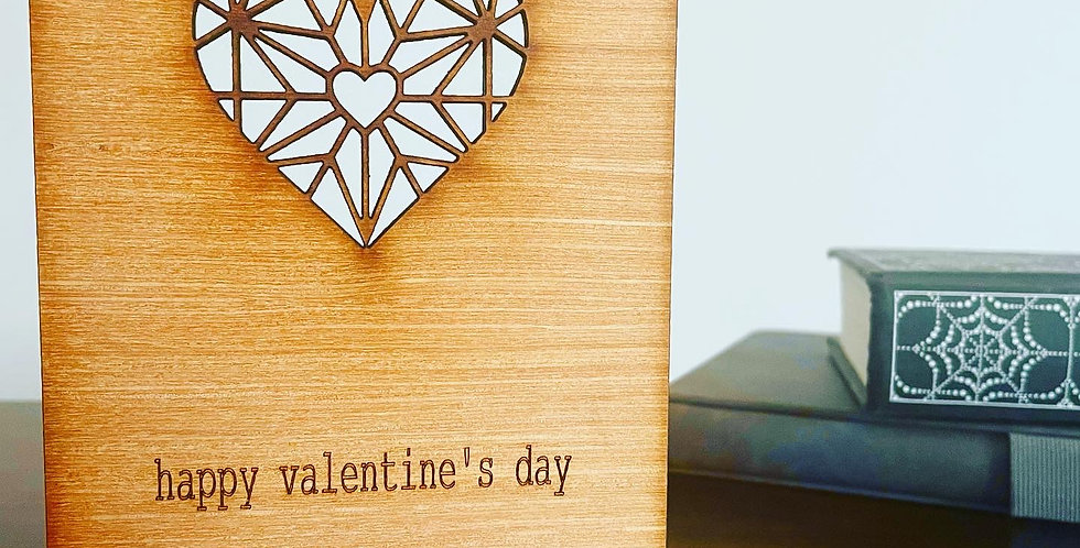 Intricate Heart Woodcut Greetings Card