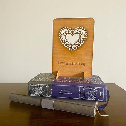 Filigree Heart Wooden Greetings Card
