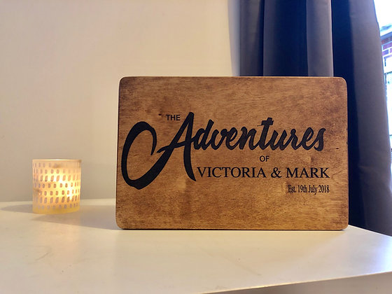 """The Adventures of"" couples keepsake box"