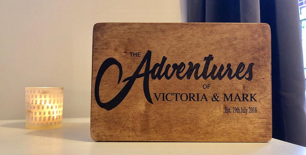 """The Adventures of"" couples keepsake box"