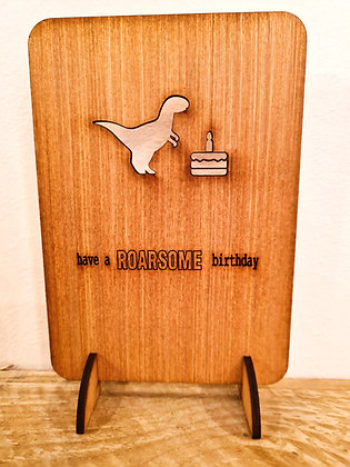 Rawsome Birthday woodcut greetings card