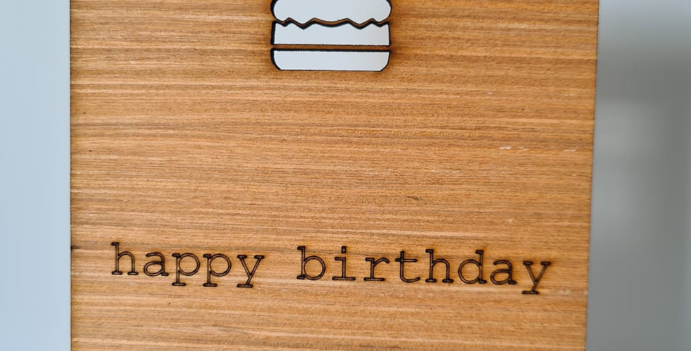 Birthday Cake Woodcut Greetings Card