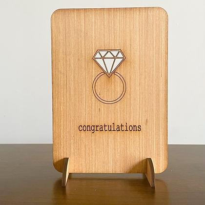 Diamond Ring Woodcut Greetings Card