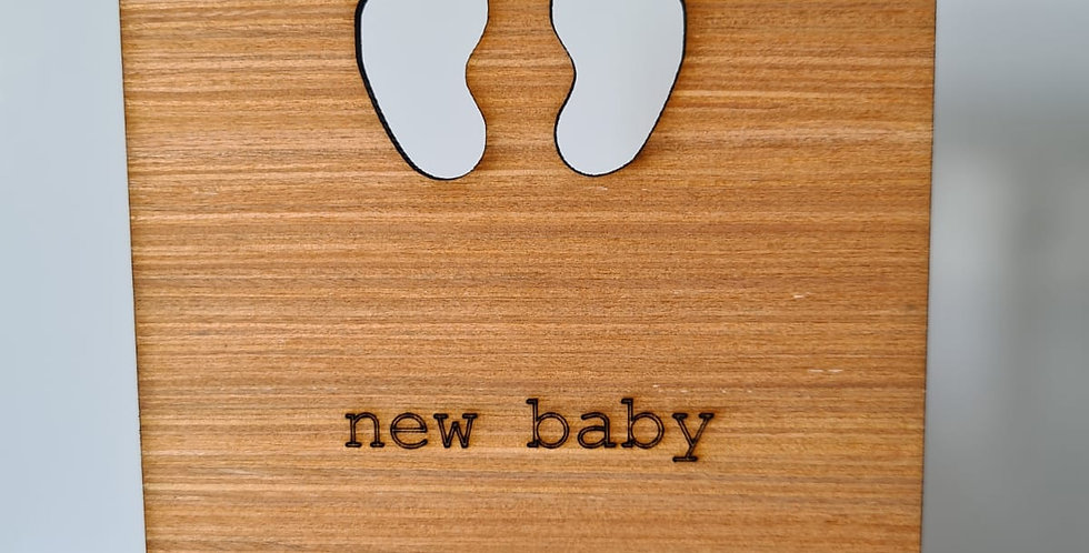 New Baby Woodcut Greetings Card