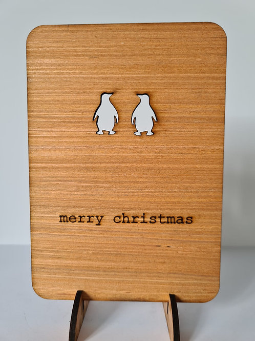"Penguin Wooden ""Pop Up"" Christmas Card"