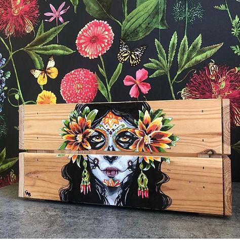 'Dia de los muertos'- Hand-painted crate