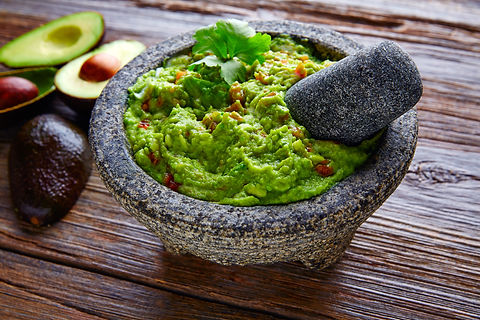 avocado Guacamole on molcajete real Mexi