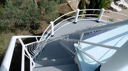 Stairs to top deck