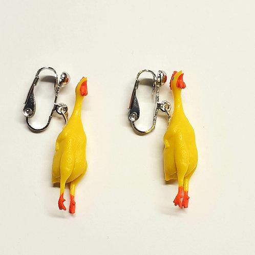 Kinda Rubber Chicken Clip-on Earrings