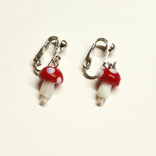 Mini Red Cap Mushroom Clip-on Earrings