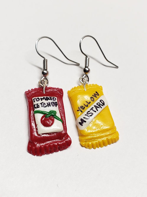 Ketchup and Mustard Packet Earrings