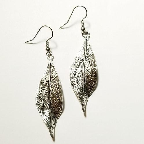 Silver Slender Leaf Earrings