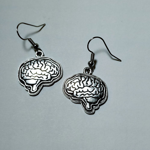 Silver Brain Earrings
