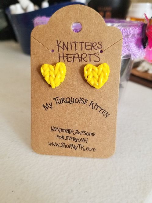 Yellow Knitted Heart Earrings