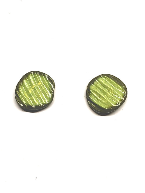 Pickle Slice/Chip Stud Earrings