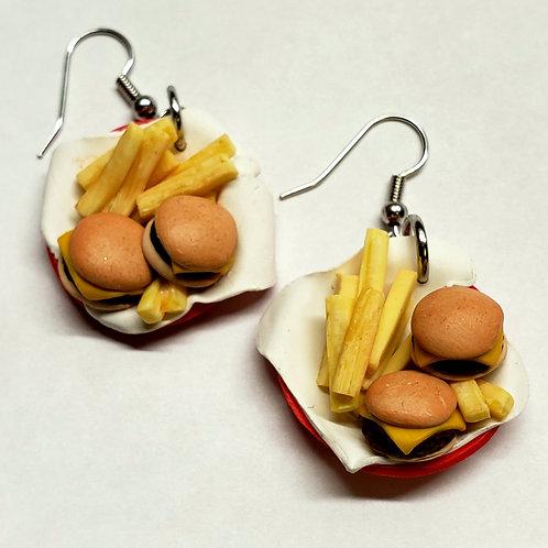 Cheeseburger Sliders& Fries Earrings