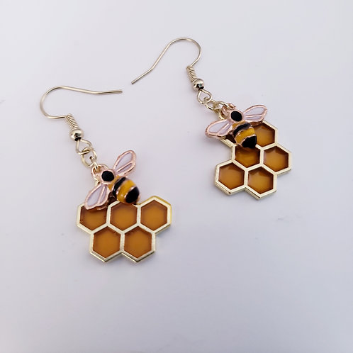 Honey Bee Charm Earrings