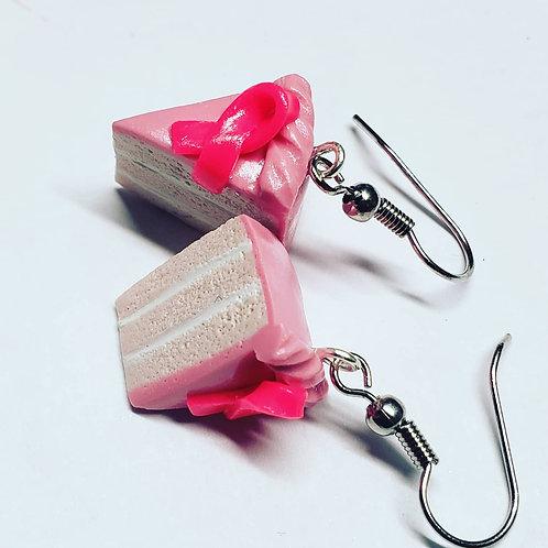Pink Ribbon Cake Earrings