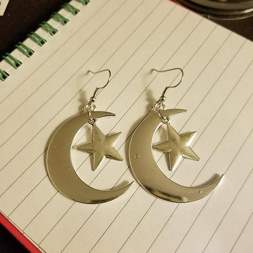 Crescent Moon & Star Earrings