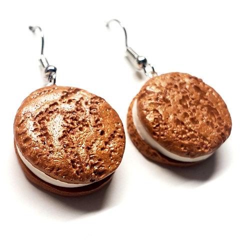 Oatmeal Cream Cookie Earrings