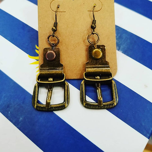 Dark Brass Buckle Earrings