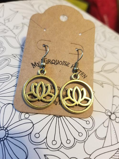 Brassy Lotus Blossom Earrings