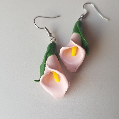 Calla Lilly Earrings - Pink