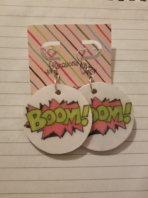 BOOM! Action Words Earrings  - Small