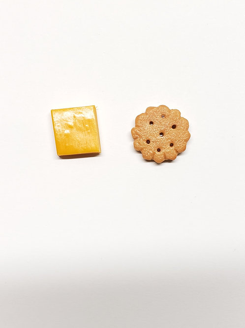 Cheese And Cracker Stud Earrings
