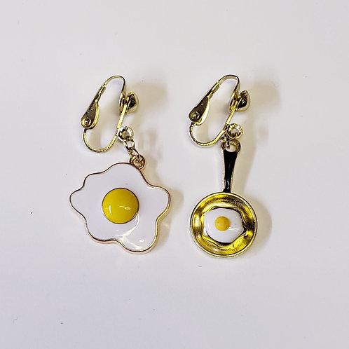 Fried Egg Charm Clip-on Earrings