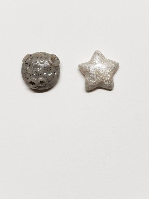 Granite Moon & Pearlescent Star Stud Earrings