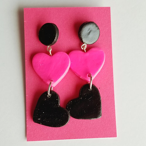 Three Hearts Dangle Earrings
