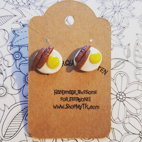 Mini Sausage & Egg Stud Earrings