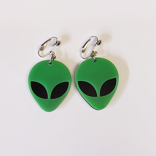 Acrylic Alien Clip-on Earrings