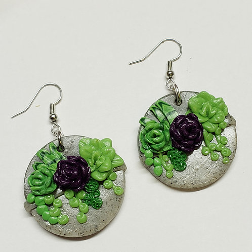 Succulent Basket Earrings