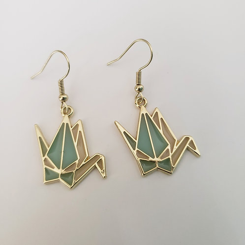 Origami Crane Charm Earrings