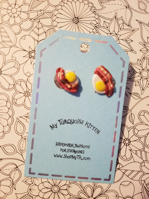 Eggies & Bacon Stud Earrings