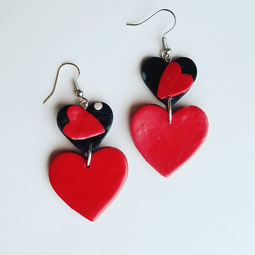 Black and Red Valentine's Hearts #2