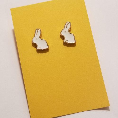 White Rabbit Stud Earrings